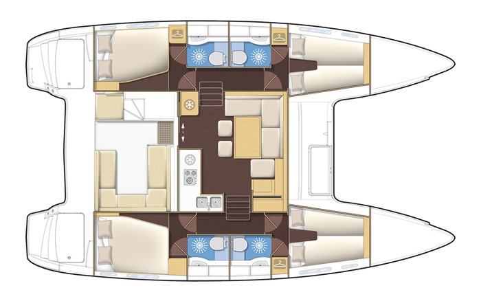 Plan catamaran Lagoon 39