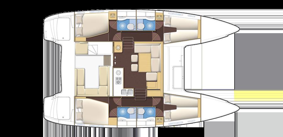 Plan catamaran Lagoon 39