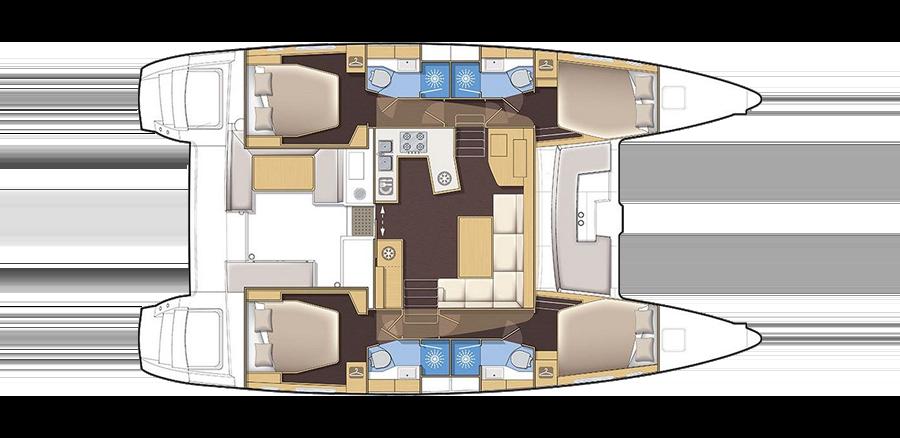 Plan catamaran Lagoon 450F