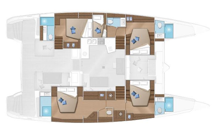 Plan Lagoon 52s 5 cabines